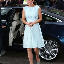 Wearing a Emilia Wickstead dress and Rupert Sanderson pumps to the National Portrait Gallery on April 24th, 2013.