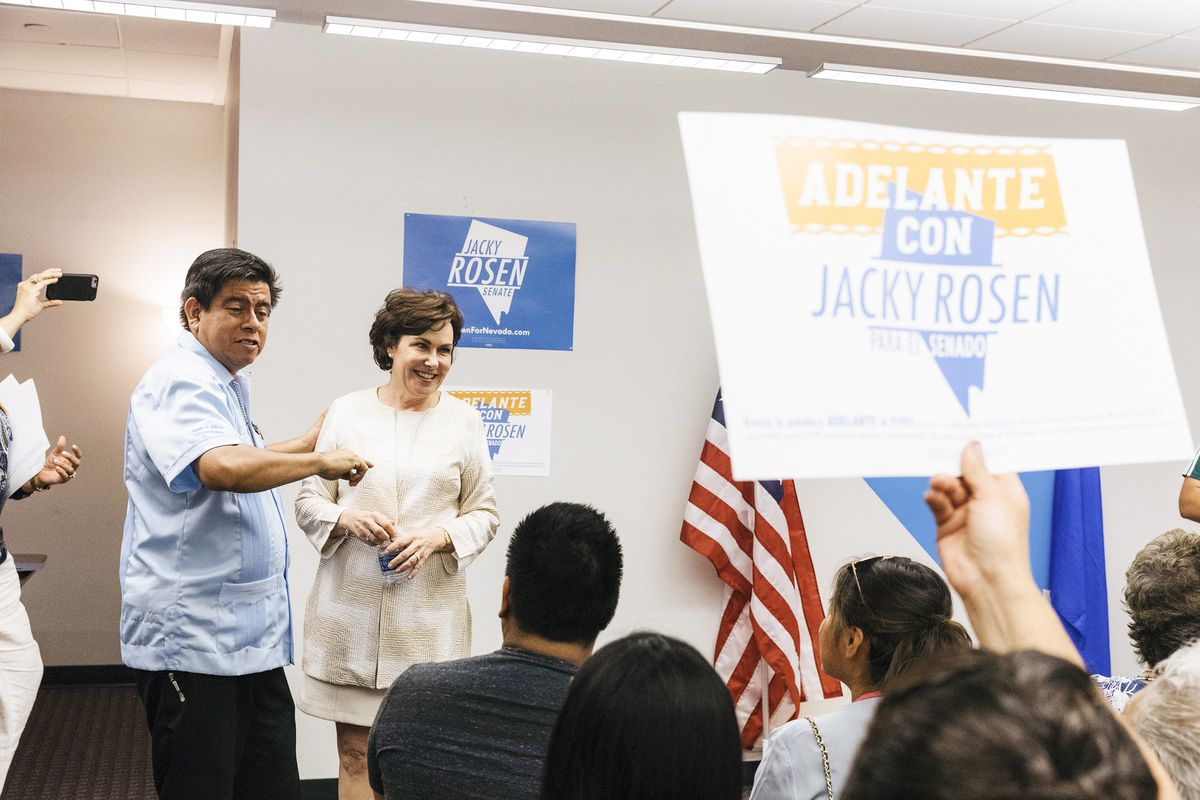 Congresswoman Jacky Rosen speaks with guests during a Hispanic Heritage Celebration Kickoff in Las Vegas, Nev. on September 15, 2018.