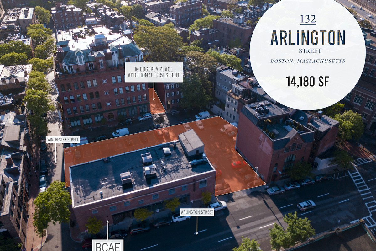 An aerial diagram of where a parking lot is located in Boston.