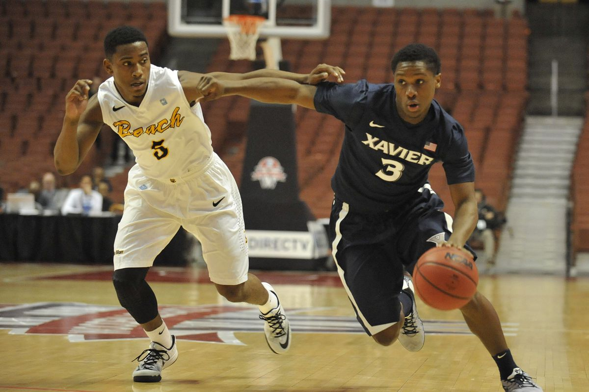 One of the few instances where an LBSU player wasn't running past his Xavier counterpart.
