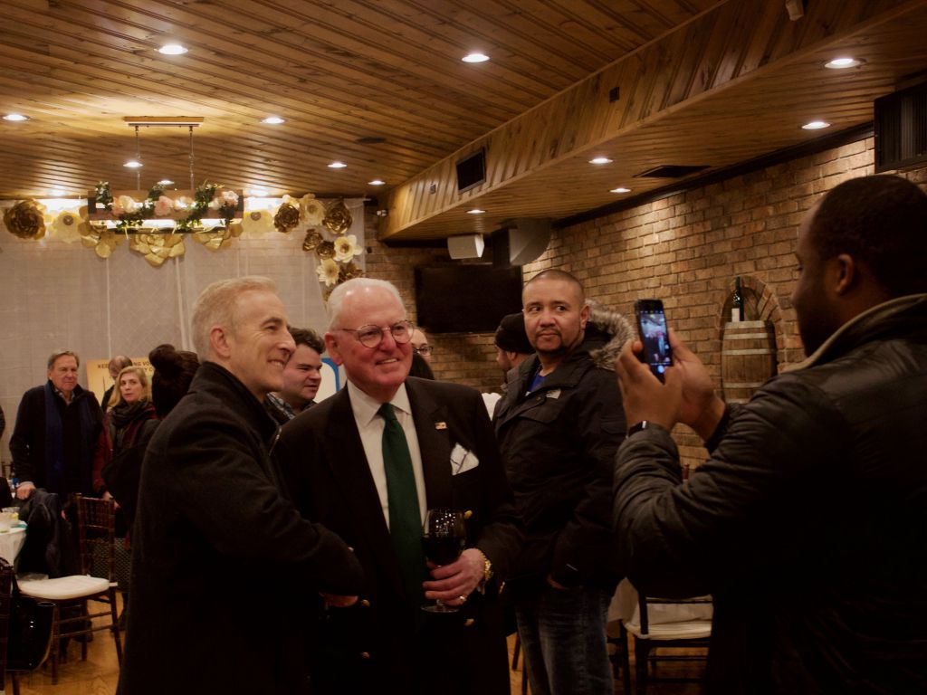 Ald. Ed Burke poses with supporters during his election night victory party. | Sun-Times/Matt Hendrickson