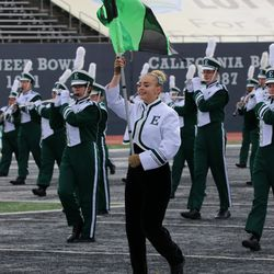 The band marching on the field prior to the game yesterday.