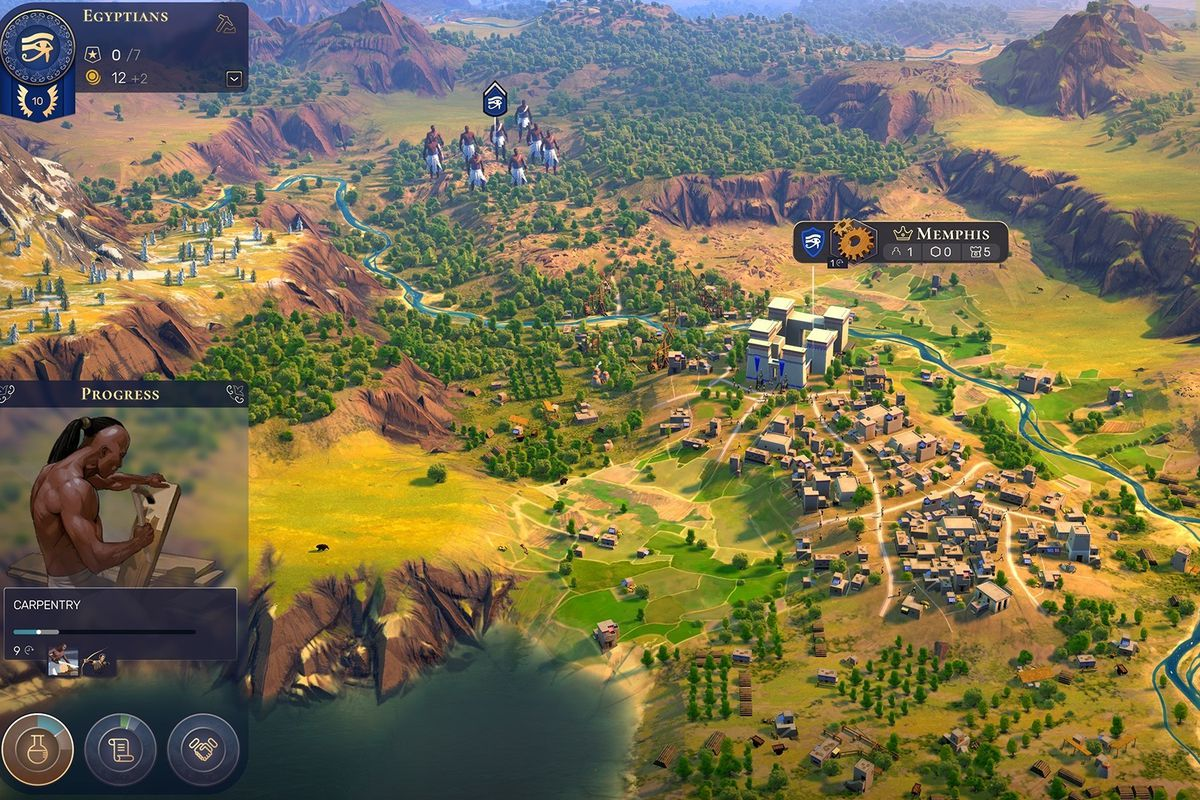An arial shot of a settlement in the game Humankind.