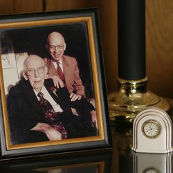 A photograph of U.S. Senator Bob Bennett and his father Wallace Bennett is displayed in his office in Salt Lake City, Utah, Sunday, Oct. 24, 2010.  Jeffrey D. Allred, Deseret News