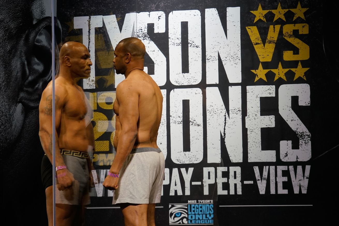 Mike Tyson and Roy Jones Jr.