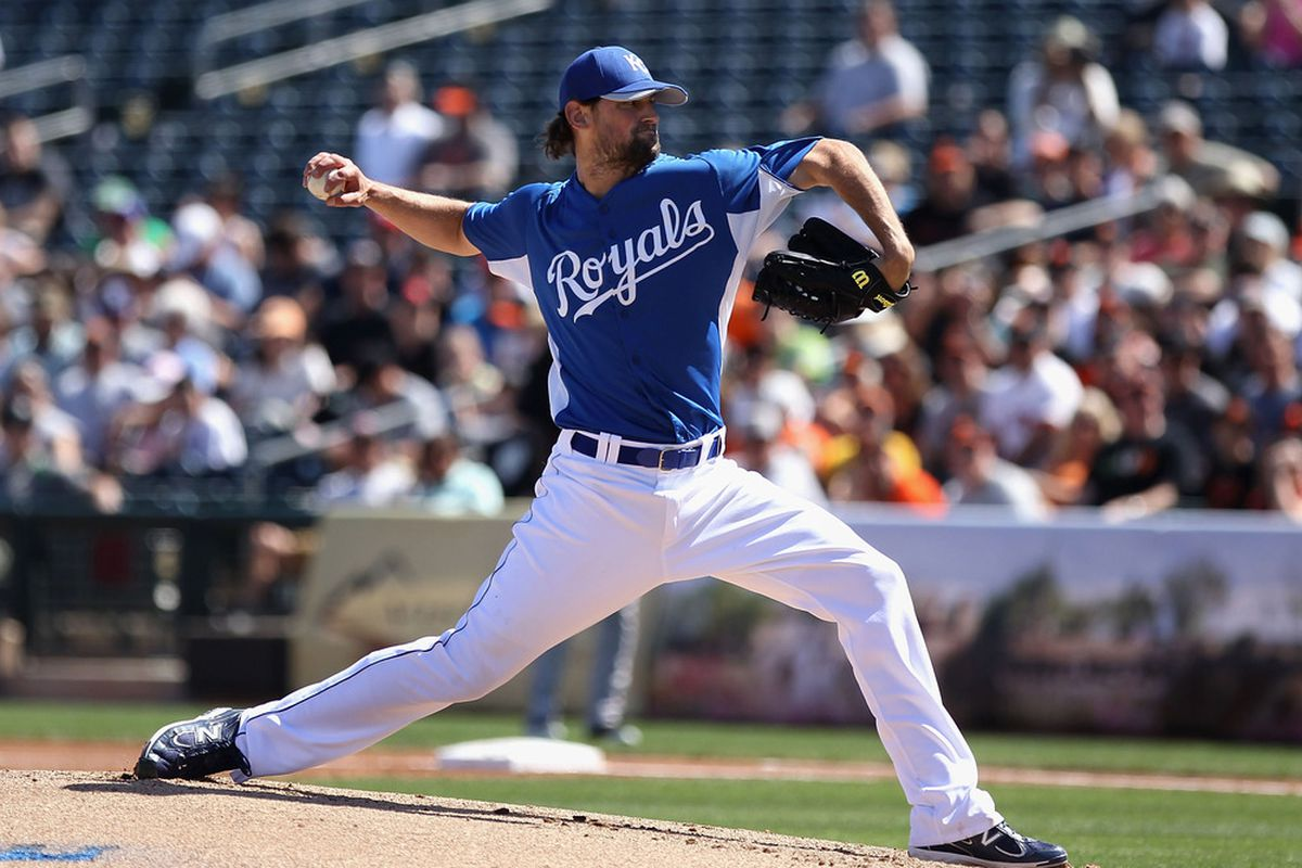 Starting pitcher Luke Hochevar of the Kansas City Royals pitches against the San Francisco Giants during the spring training game at Surprise Stadium in Surprise, Arizona.  (Photo by Christian Petersen/Getty Images)