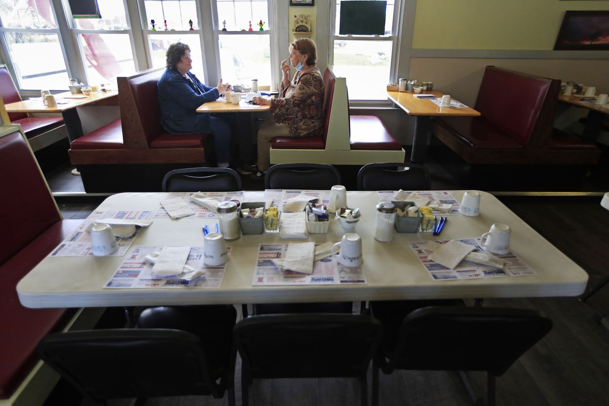 Customers dine inside at the Hot Spot Diner in Wiscasset, Maine.