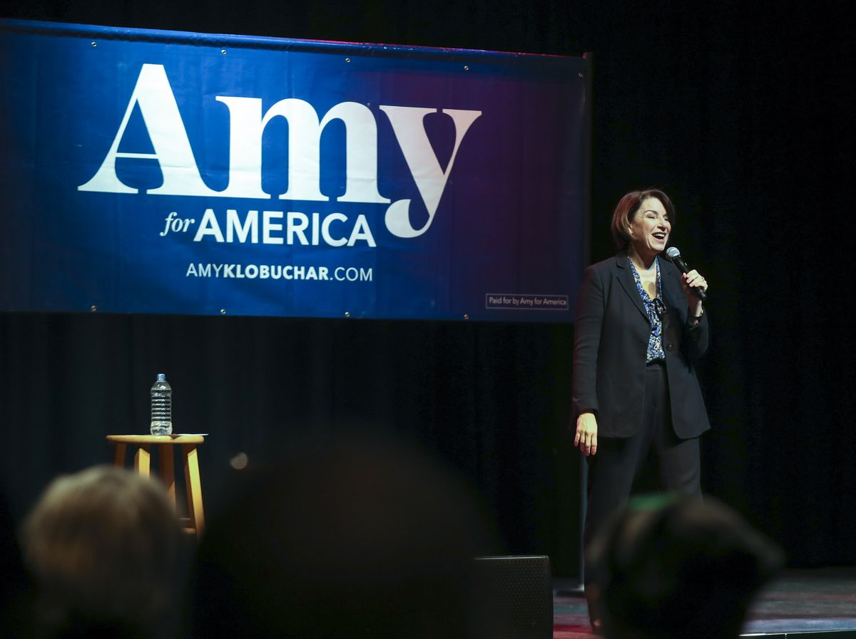 Democratic presidential candidate Amy Klobuchar speaks to her supporters during a campaign rally at The Depot in Salt Lake City on Monday, March 2, 2020. The Minnesota senator is hoping to fire up voters before Tuesday's presidential primary.