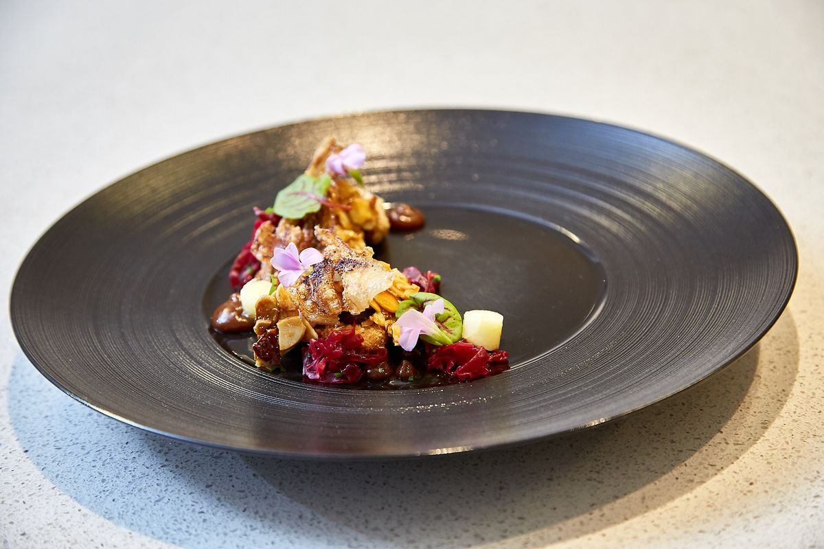 A colorful plated dish.
