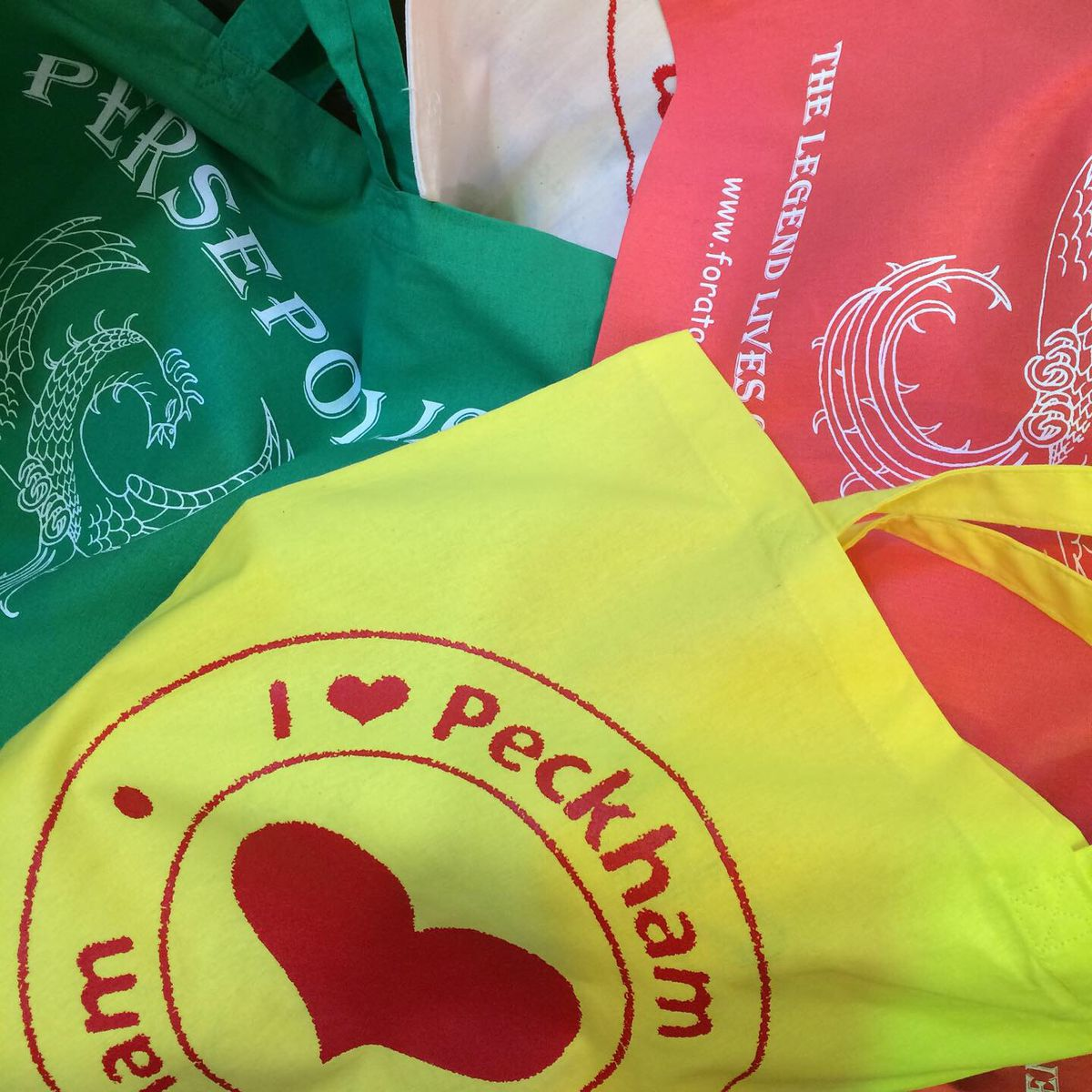 """London's best restaurant merch includes this yellow tote with """"I love Peckham"""" written in red"""