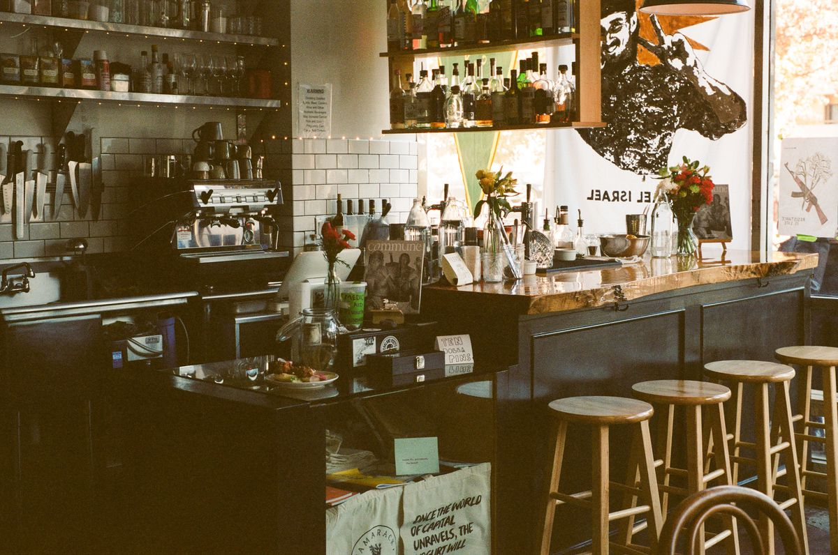 A view of the bar counter at Tamarack