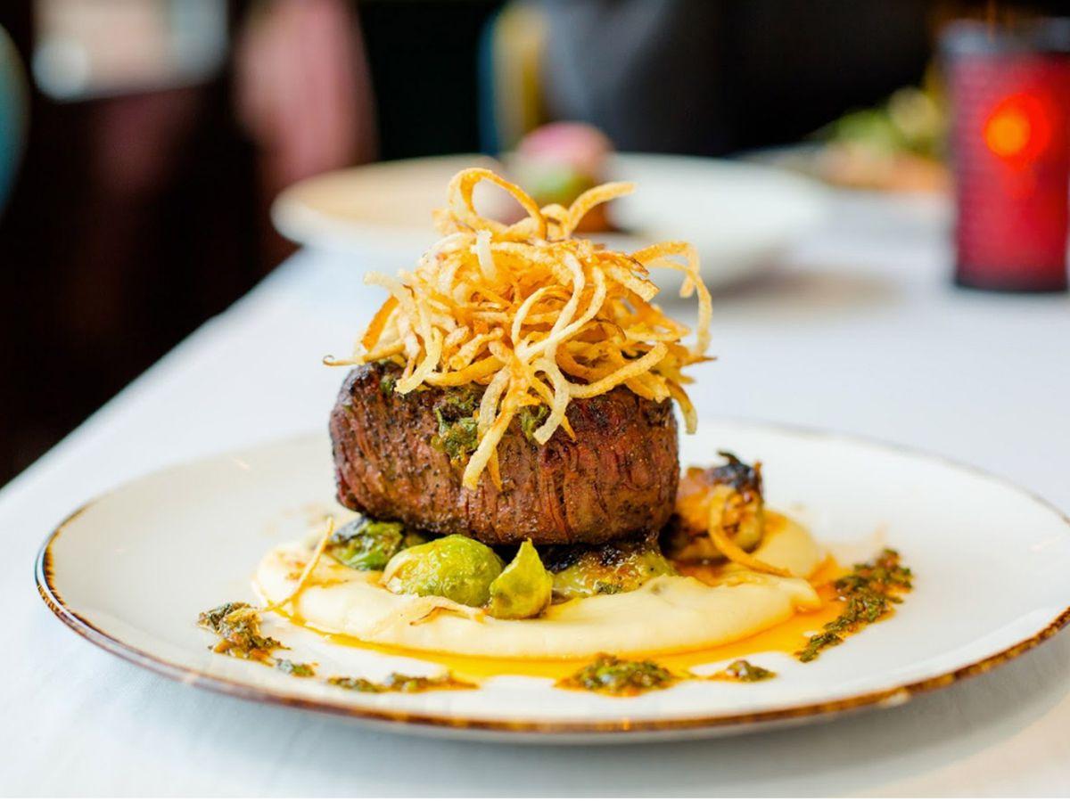A plate of steak.