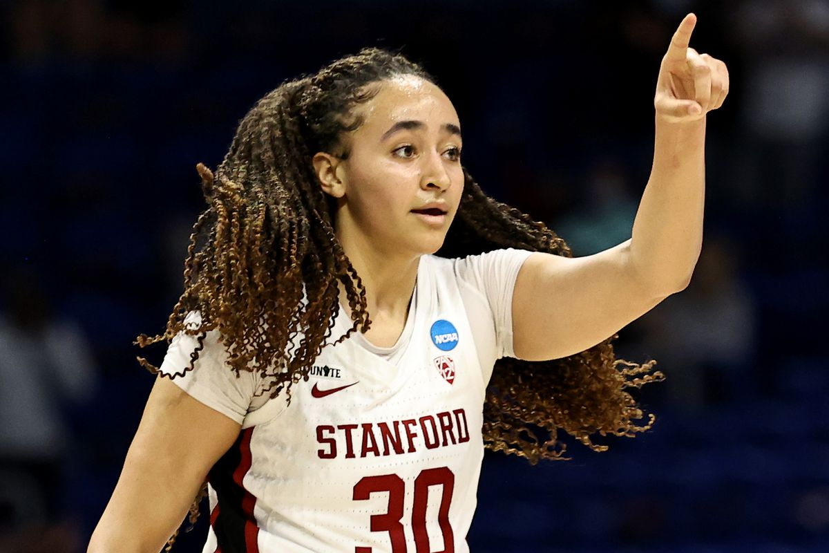 Haley Jones of the Stanford Cardinal celebrates her basket in the second half against the Louisville Cardinals during the Elite Eight round of the NCAA Women's Basketball Tournament at Alamodome on March 30, 2021 in San Antonio, Texas.The Stanford Cardinal defeated the Louisville Cardinals 78-63 to advance to the Final Four.