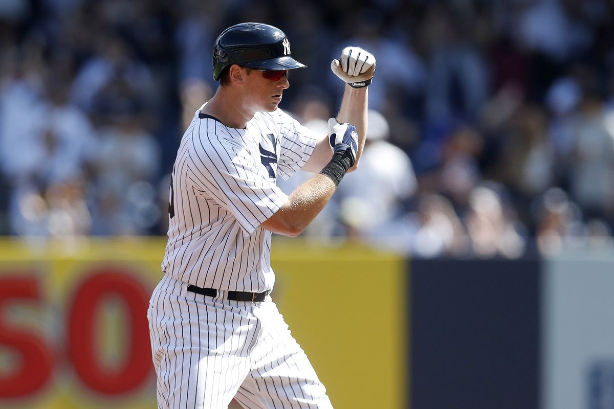 DJ LeMahieu #26 of the New York Yankees reacts at second base after his double during the first inning against the Cleveland Indians at Yankee Stadium on September 18, 2021 in New York City.
