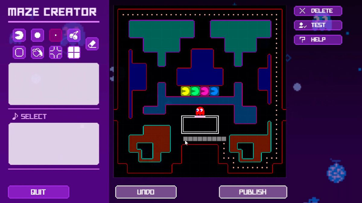The maze editor mode in Pac-Man Live Studio