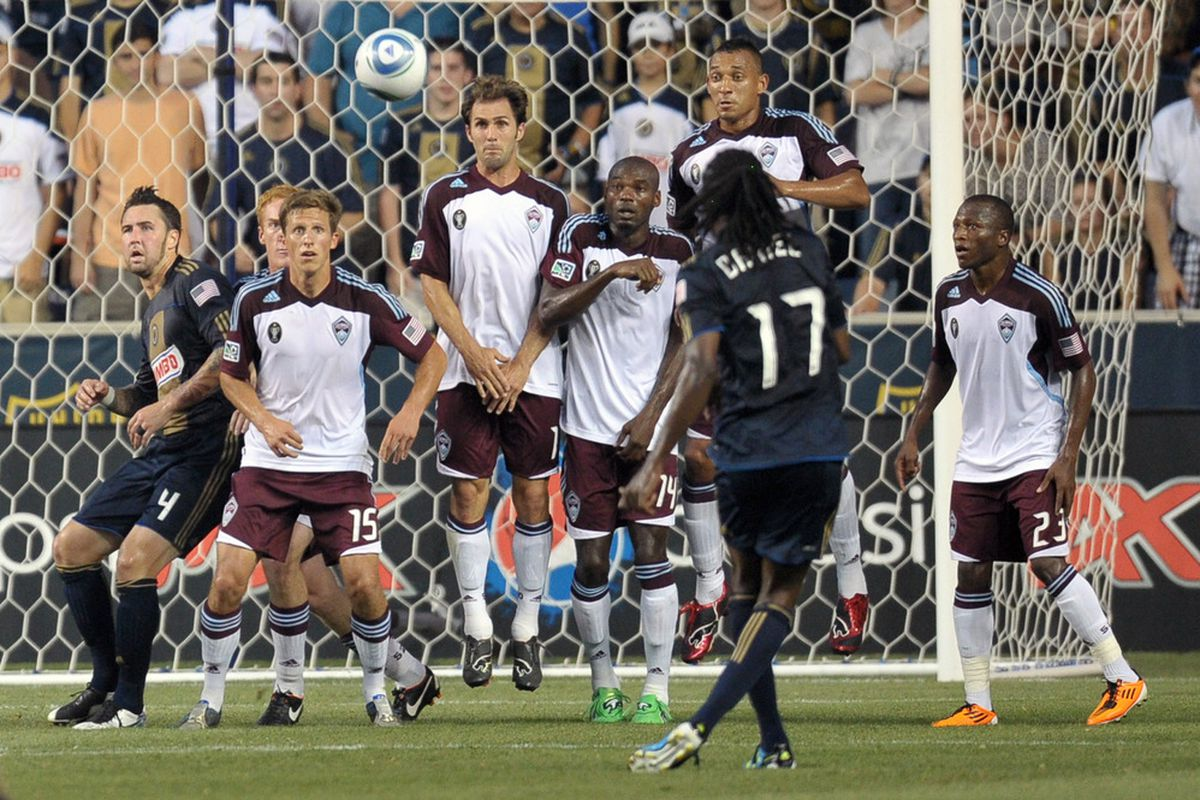 CHESTER, PA- JULY 29: Keon Daniel #17 of the Philadelphia Union takes a free kick during the game against the Colorado Rapids at PPL Park on July 29, 2011 in Chester, Pennsylvania. (Photo by Drew Hallowell/Getty Images)