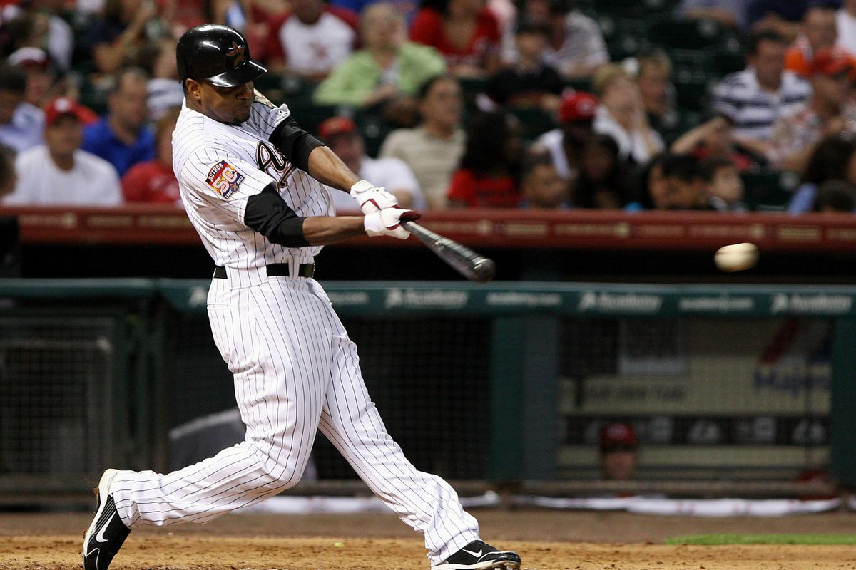 July 23, 2012; Houston, TX, USA; Houston Astros outfielder Ben Francisco (3) gets a single in the fourth inning against the Cincinnati Reds at Minute Maid Park. Mandatory Credit: Troy Taormina-US PRESSWIRE