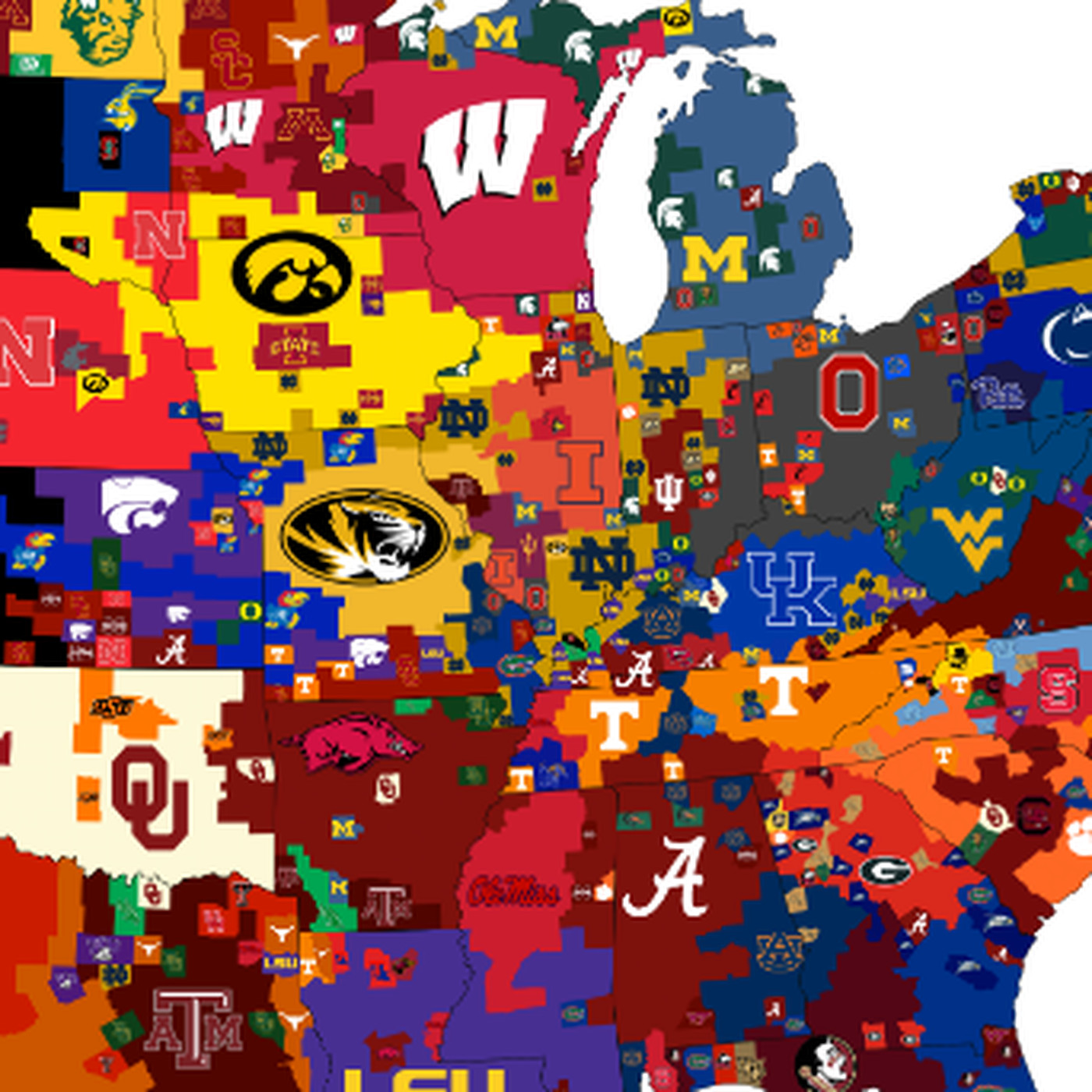 3 different maps that show the most popular college football teams across america sbnationcom