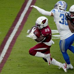 Arizona Cardinals running back Chase Edmonds (29) runs as Detroit Lions safety Miles Killebrew (35) defends during the second half of an NFL football game, Sunday, Sept. 27, 2020, in Glendale, Ariz.