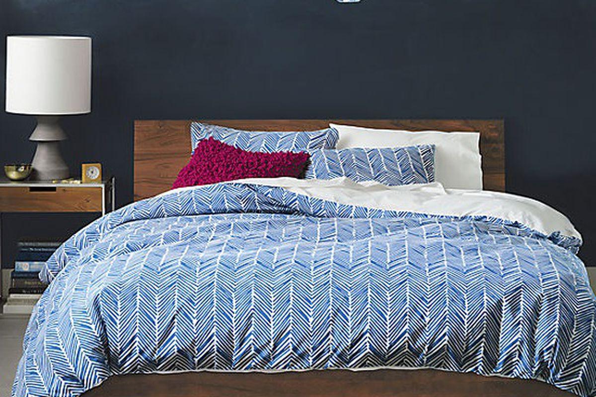 "Blue Chevron Bed Linens, <a href=""http://www.cb2.com/all-bed-bath/bed-and-bath/blue-chevron-bed-linens/f9602"">$34.95 - $99.99</a> at CB2"