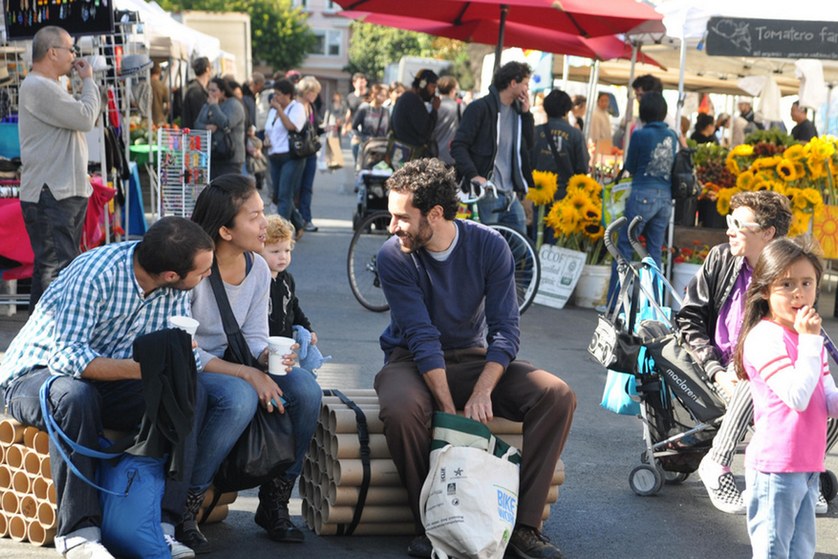 Shoppers at the Mission Community Market.
