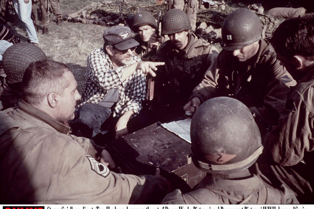 Steven Spielberg Directs Tom Hanks And Crew On The Set Of The WwII Drama Saving Private