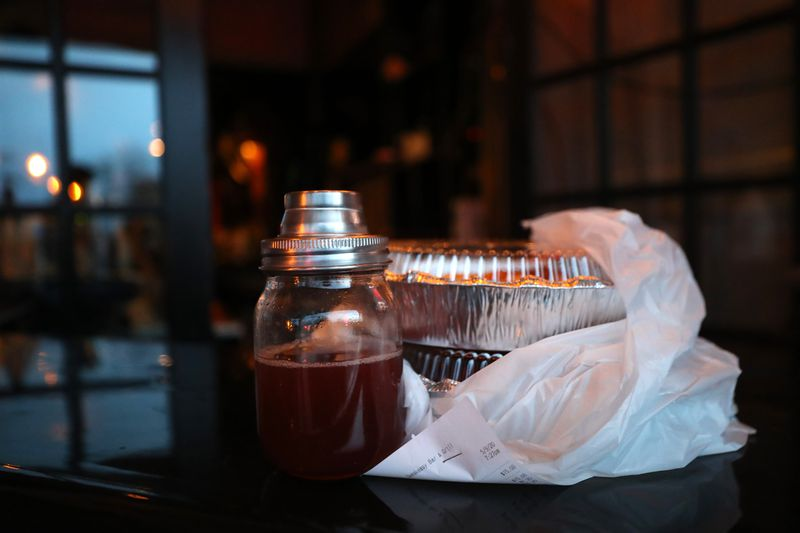 A to-go dinner and cocktail at SpeakEasy Bar & Grill in Newport, Rhode Island, earlier this month.
