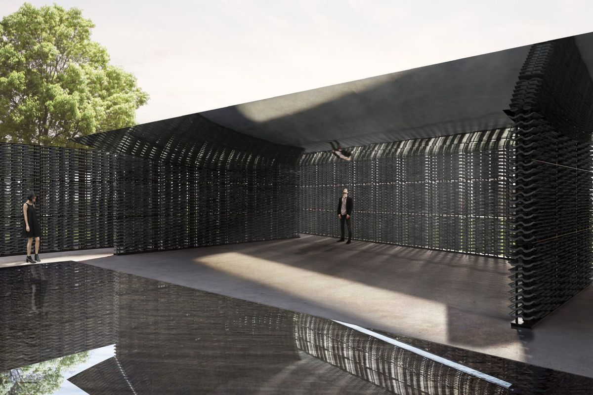 Rendering of dark enclosed courtyard with reflecting pool and lattice walls.