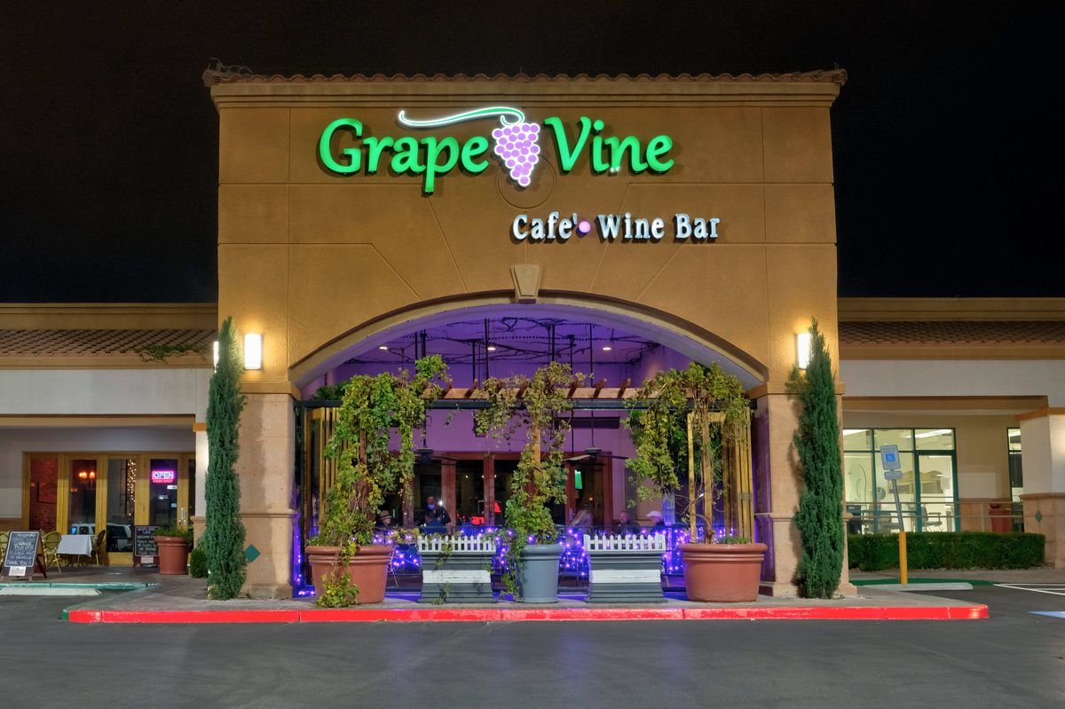 The exterior of a wine bar