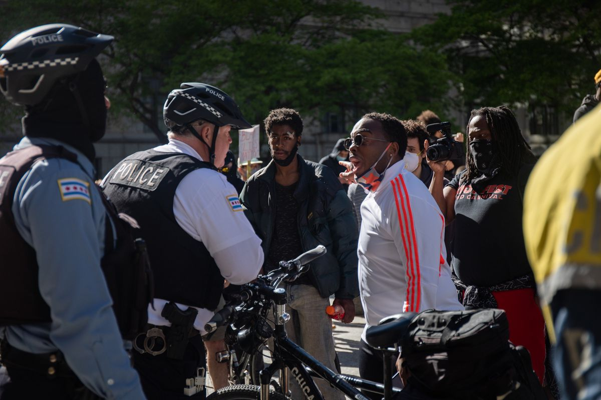 Hundreds of peaceful protesters gather on Daley Plaza on May 31, 2020