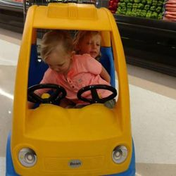 Arianne Brown's sons tussle about in the shopping car cart on a recent trip to the grocery store.