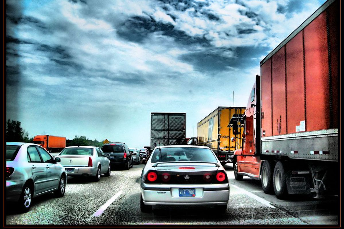 A traffic jam going west on I-94 near the Michigan/Indiana border.