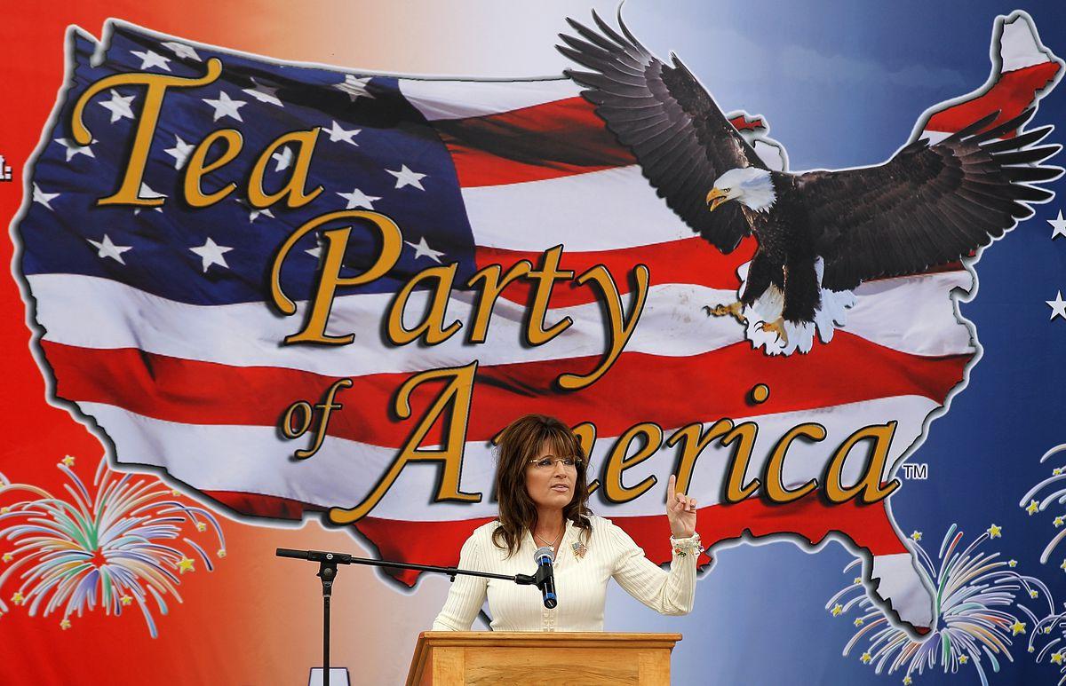 Sarah Palin attends a Tea Party rally.