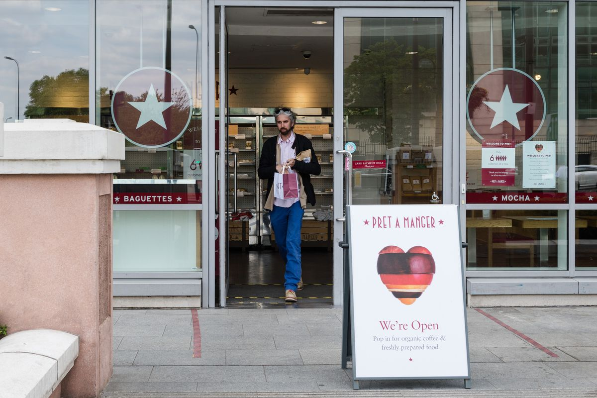 A Pret a Manger cafe in London, 30 of which will close because of coronavirus
