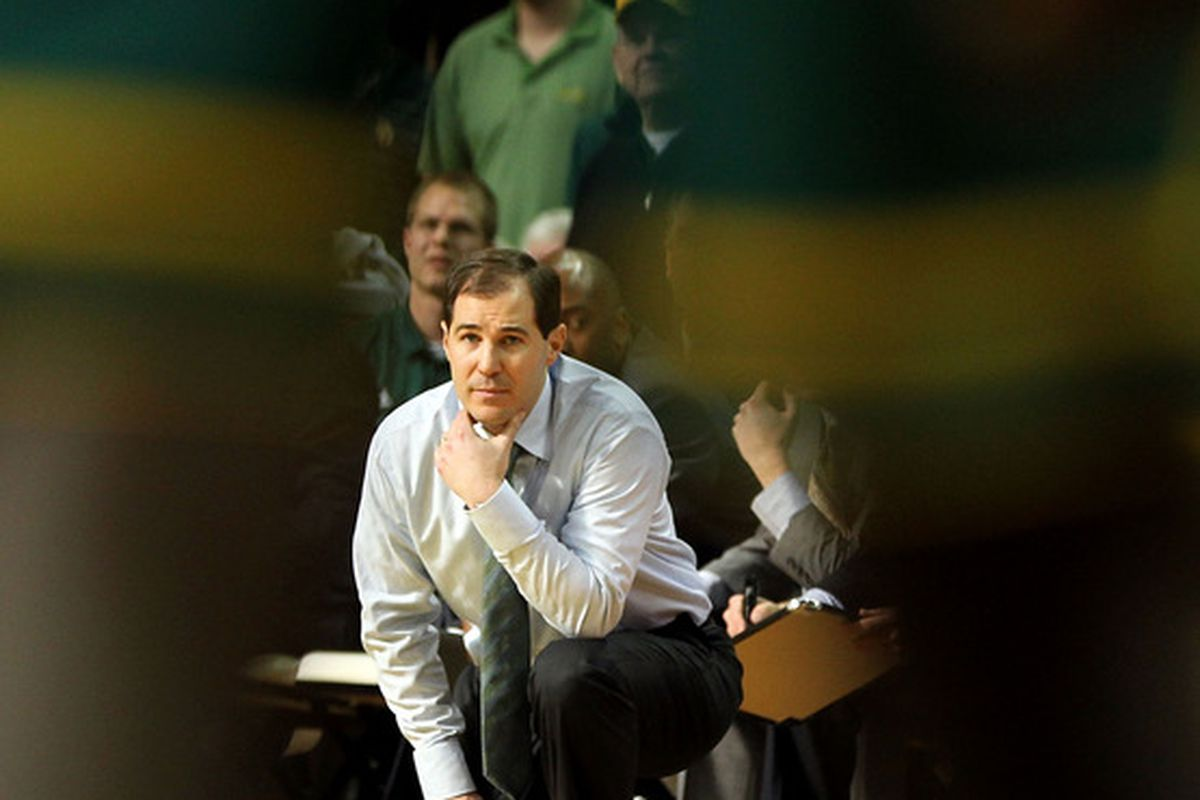 COLUMBIA, MO - FEBRUARY 11:  Head coach Scott Drew of  the Baylor Bears watches from the bench during the game against the Missouri Tigers on February 11, 2012  at Mizzou Arena in Columbia, Missouri.  (Photo by Jamie Squire/Getty Images)
