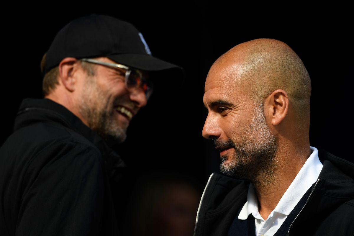 Jurgen Klopp and Josep Guardiola - Manchester City v Liverpool - Premier League