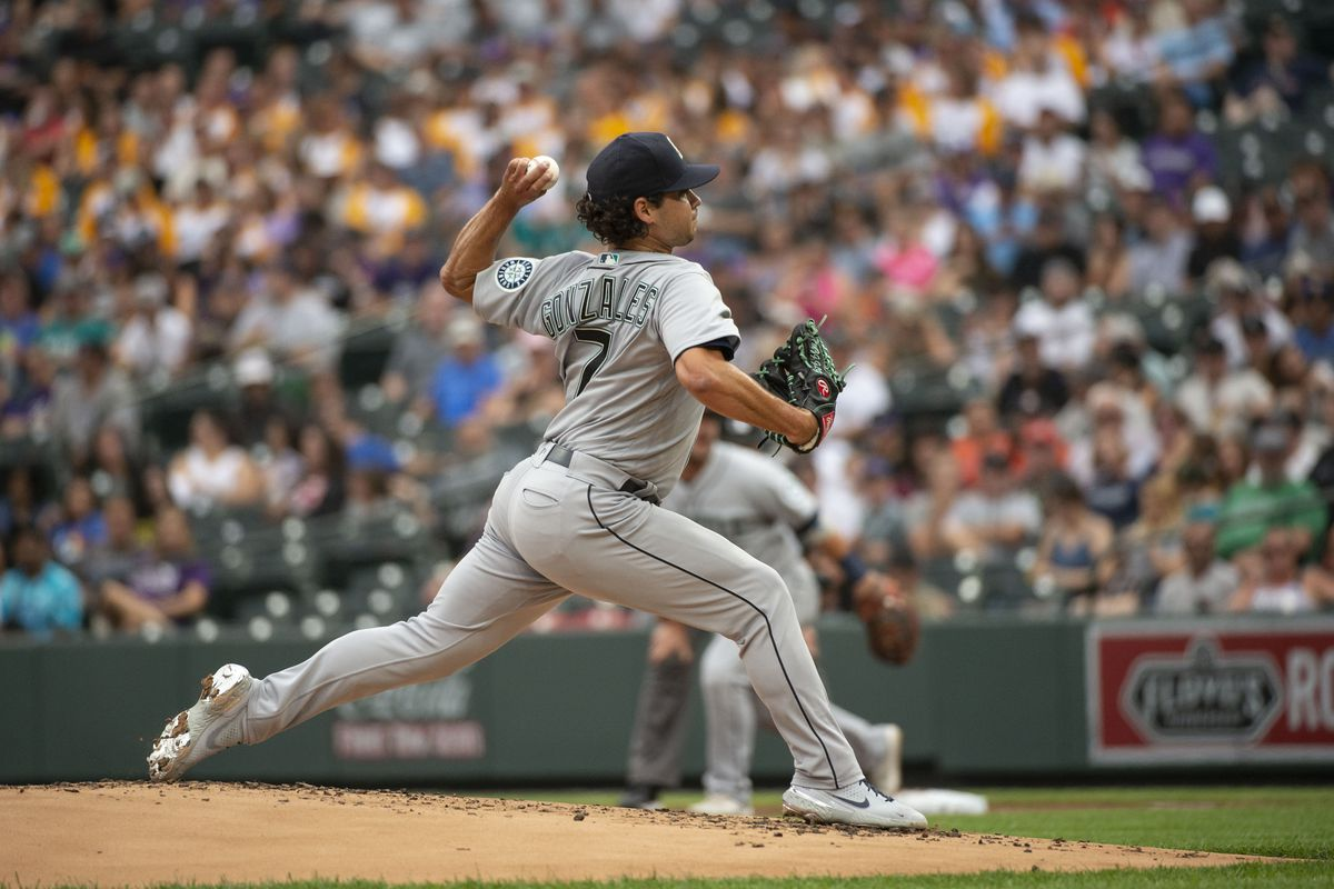 Seattle Mariners Starting pitcher Marco Gonzales (7) delivers a pitch during a Major League Baseball game between the Seattle Mariners and Colorado Rockies on July 20, 2021, at Coors Field in Denver, CO.