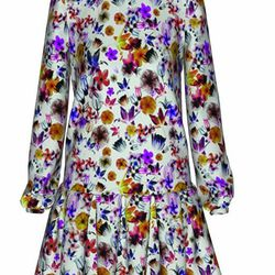 """<a href=""""http://www.tinkertailor.com/designer/#/customize/115"""">Floret dress</a>, pictured here in """"orchide,"""" and offered in """"dove,"""" $550"""