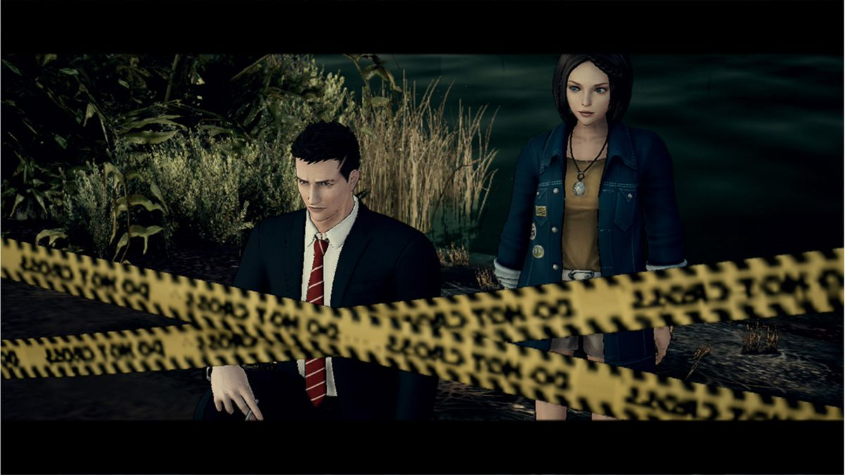 Agent York investigates a crime scene with his partner Patricia Woods in a screenshot from Deadly Premonition 2: A Blessing in Disguise
