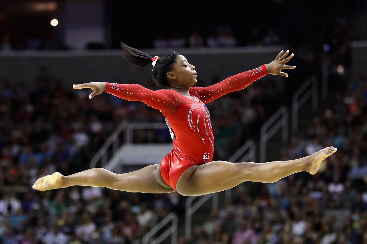 Simone Biles competes in the floor exercise during the 2016 US Women's Gymnastics Olympic Trials on July 10 in San Jose, California.