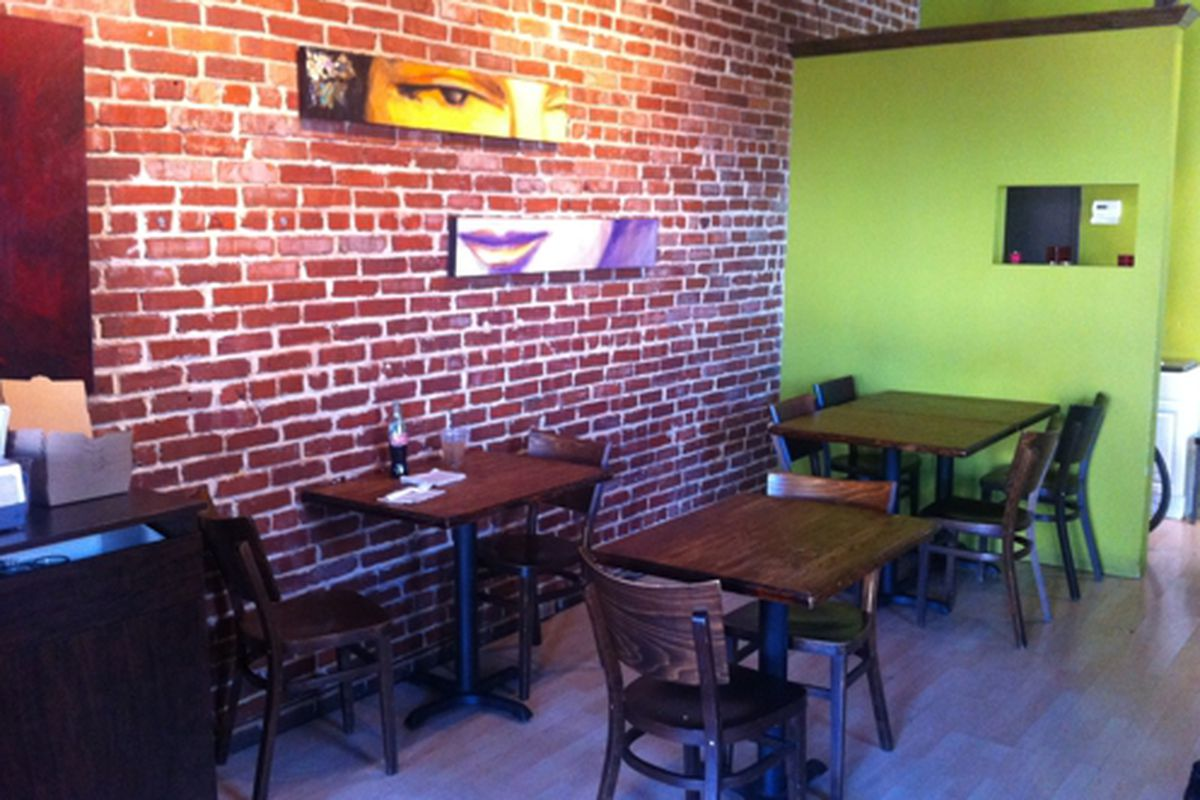 The dining room at Super Pan Latino Sandwich Shop.