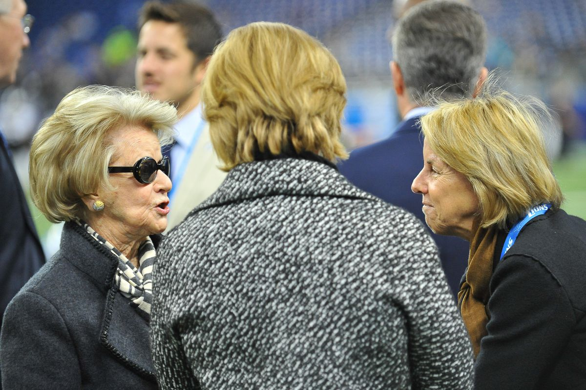 Detroit Lions Owner and Chairman Mrs. Martha Firestone Ford and her daughter Vice Chairman Sheila Ford Hamp prior to the game on Sunday afternoon, Ford Field, Detroit, Michigan.