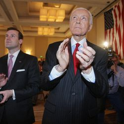 Sen. Orrin Hatch, R-Utah, claps after hearing the concession speech by Mitt Romney at the Hilton in Salt Lake City Tuesday, Nov. 6, 2012.