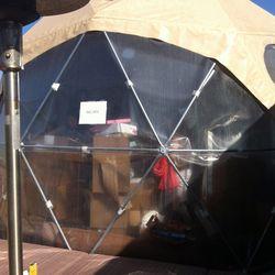 The bag check tent