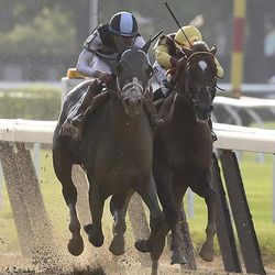 Tapwrit, left, and Irish War Cry race to the finish during the 149th running of the Belmont Stakes horse race, Saturday, June 10, 2017, in Elmont, N.Y. Tapwrit won the race.