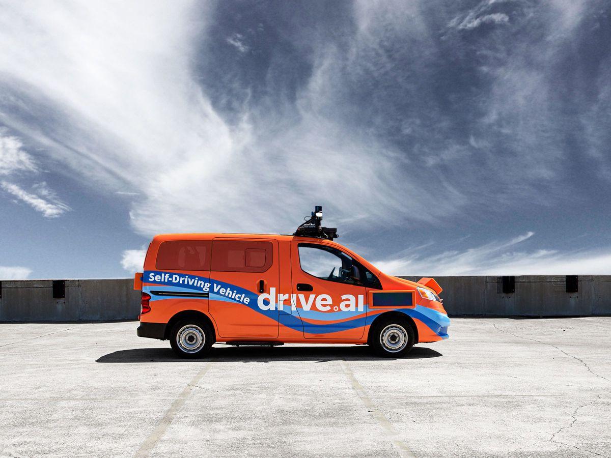 Orange van with sensors