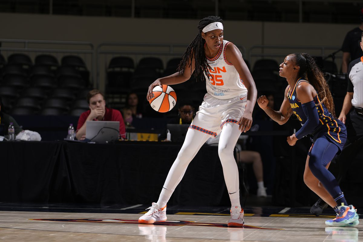 Jonquel Jones #35 of the Connecticut Sun handles the ball against the Indiana Fever on July 3, 2021 at Indiana Farmers Coliseum in Indianapolis, Indiana.