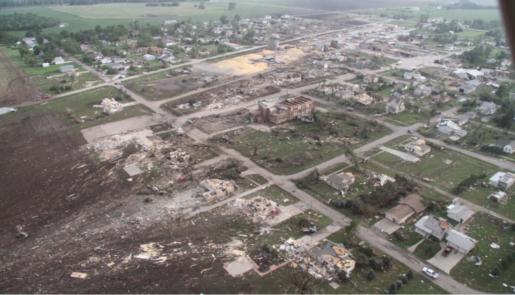 Damage to the town of Pilger by an ef4 tornado in 2014.