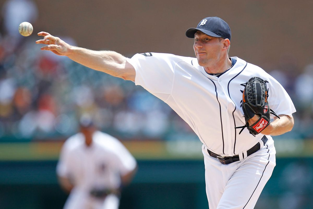 DETROIT, MI - JUNE 16: Max Scherzer #37 of the Detroit Tigers throws a second inning pitch while playing the Cleveland Indians at Comerica Park on June 16, 2011 in Detroit, Michigan. (Photo by Gregory Shamus/Getty Images)