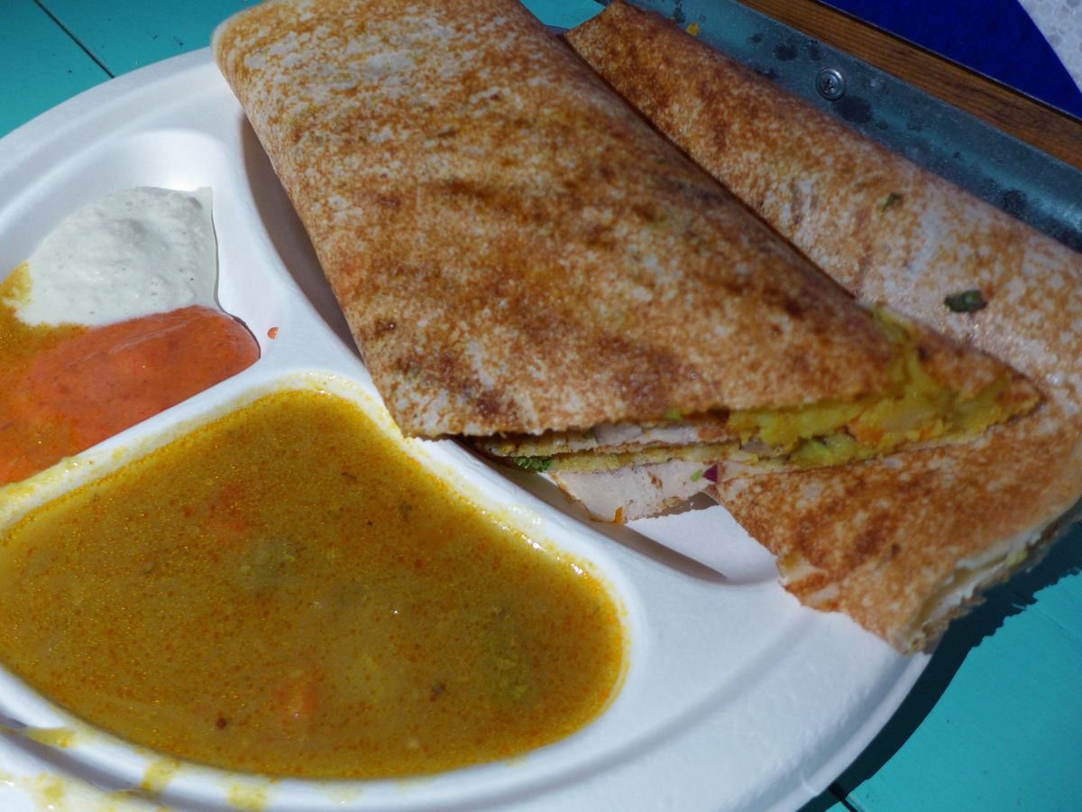 Masala dosa with all the trimmings